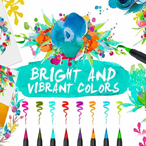 Premium Watercolor Marker Set of 21 By Nu-Tech   Brush Pens, Calligraphy, Adult Coloring Book, Manga, Fine Marker Tip   Mess Free Painting For All   Vibrant Colors and BONUSES   ASTM CERTIFIED by Nu-Tech Innovations, LLC