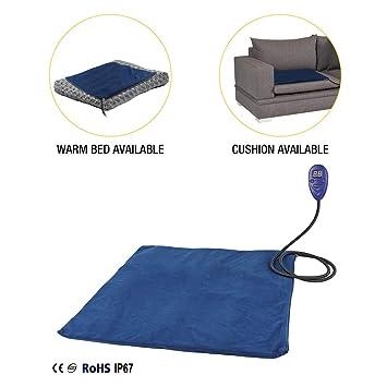 Authda Pet Heat Pad Calentador eléctrico 50 x 50 cm impermeable calentador de cama para cachorro manta eléctrica de calor para perro desmontable y lavable ...