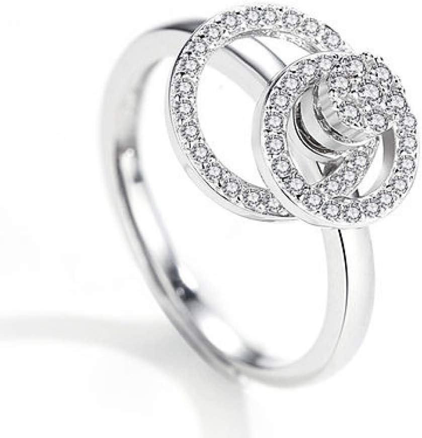 YF Creative Fashion Ring S925 Anillo de Plata de Ley con Anillo Giratorio Anillo de Plata de Moda, Oro blanco negro amor