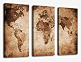 Canvas Wall Art Prints Vintage World Map Painting Ready to Hang - 3 Pieces Large Framed Canvas Art Retro Antiquated Map of the World Painting Abstract Picture Artwork for Home Office Decoration