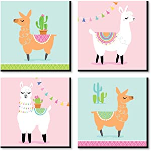 Big Dot of Happiness Whole Llama Fun - Kids Room, Nursery Decor and Home Decor - 11 x 11 inches Nursery Wall Art - Set of 4 Prints for Baby's Room