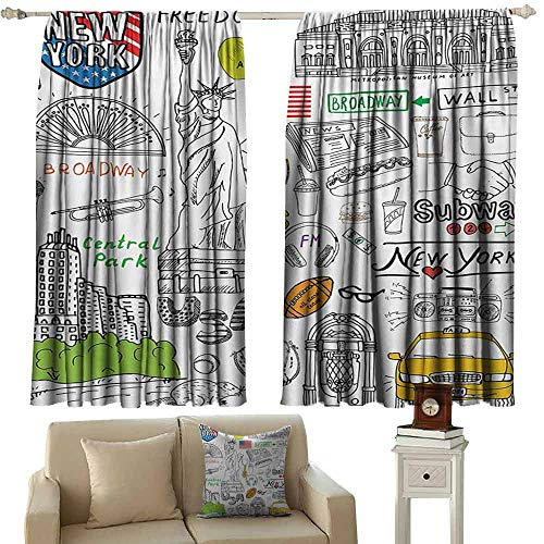 DuckBaby Bedroom Curtains 2 Panel American New York City Culture Metropolitan Museum Broadway Crossroad Wall Street Sketch Style Noise Reducing Curtain W72 xL45 White ()