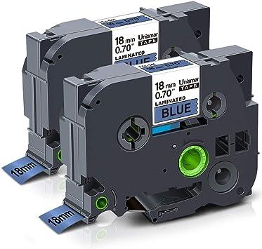 2//Pack 18mm White on Black Tape for P-touch Model PTD400AD PT-D400AD Printer