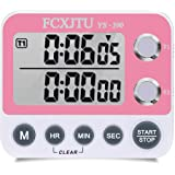 FCXJTU Digital Kitchen Timer Magnetic,Cute Girl Dual Count UP/Down Timer, Cooking Timer, Stopwatch, Large Display, Adjustable Volume Alarm, Flashing Light with On/Off Switch, Battery Included (Pink)