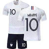 Ensemble de Sport Jeunesse Garçon T-Shirt Champion Enfan Adulte Maillot de Football France 2 étoiles et Short Coupe du Monde 2018