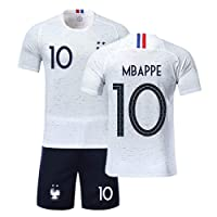 Ensemble de Sport Jeunesse Garçon T-Shirt Champion Enfan Adulte Maillot de Football France 2 étoiles et Short Coupe du Monde 2018