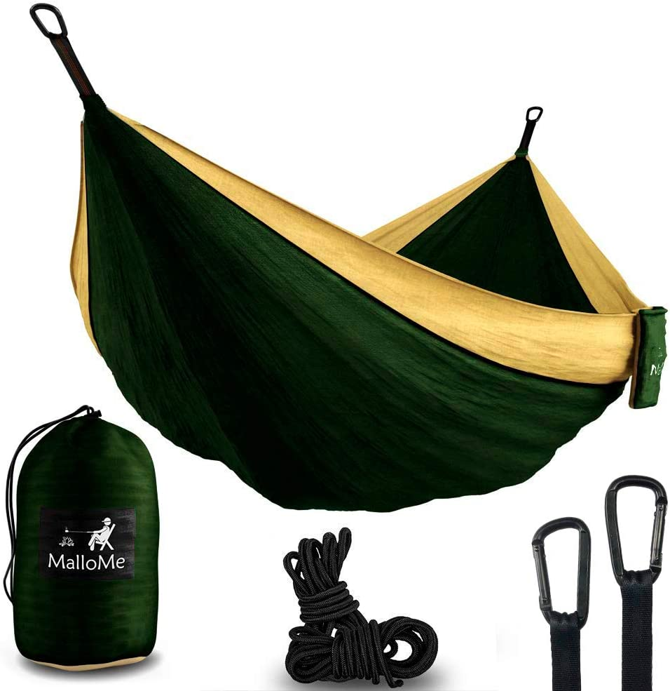 MalloMe Hammock Camping Portable Double Tree Hammocks – Outdoor Indoor 2 Person Beach Accessories Backpacking Travel Equipment Kids Max 1000 lbs Breaking Capacity – Two Carabiners Free