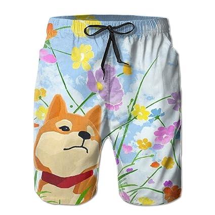 6e4574e3cd Amazon.com: Cute Shiba Inu Dog In The Flowers Swim Trunks Quick Dry Beach Board  Shorts Men Pants Household Shorts: Home & Kitchen