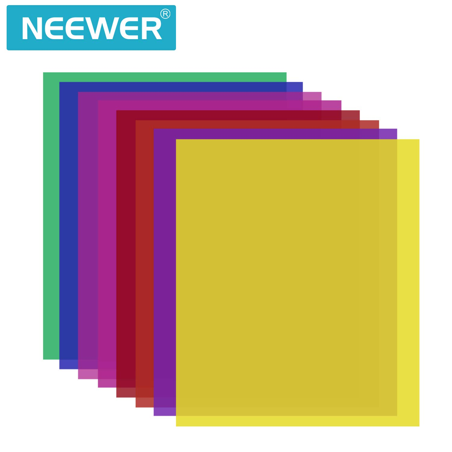 Neewer 8 Pieces Gel Color Filter with 8 Colors -16x20 inches Transparent Color Film Plastic Sheets, Correction Gel Light Filter for Photo Studio Strobe Flash, LED Video Light, DJ Light, etc. by Neewer (Image #7)