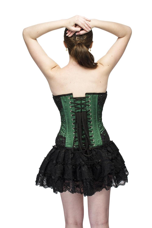Green Satin Black Sequins Gothic Burlesque Waist Cincher Bustier Overbust Corset