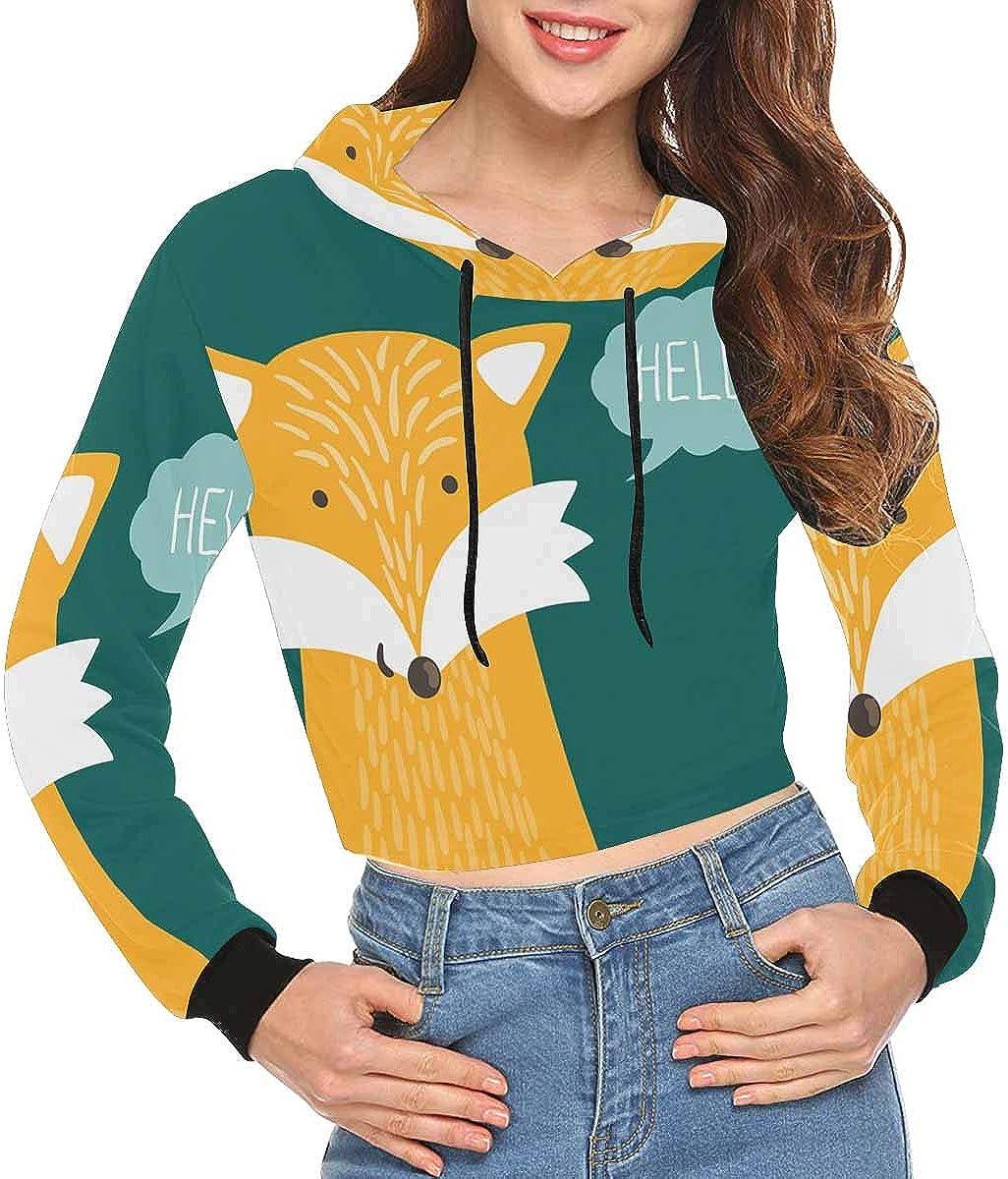 INTERESTPRINT Womens Crop Tops Hoodies Long Sleeve Fashion Sweatshirts XS-2XL