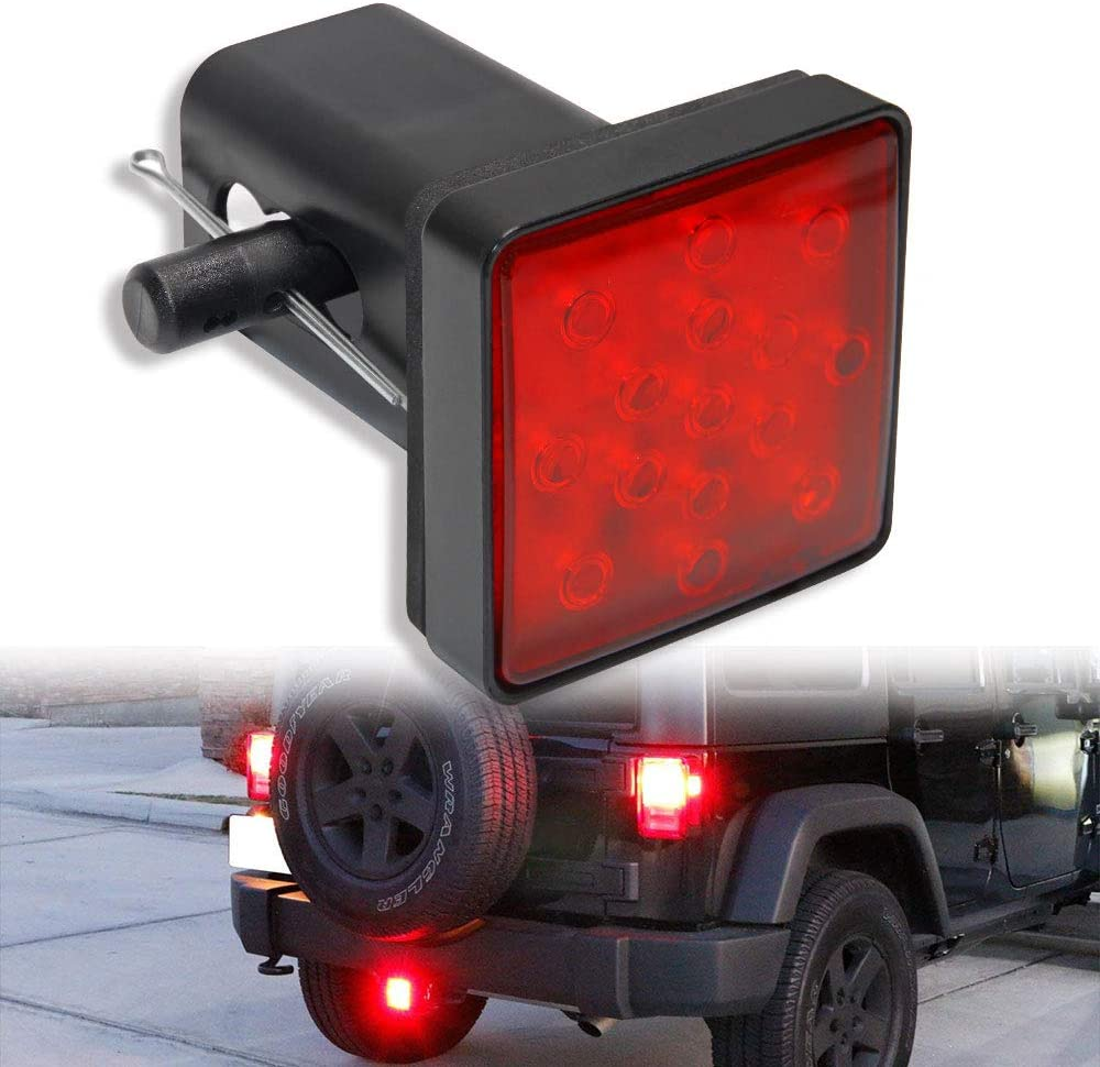 """2/""""Car Trailer Truck Hitch Towing Receiver Cover Red 15LED Brake Tail Light Tube"""
