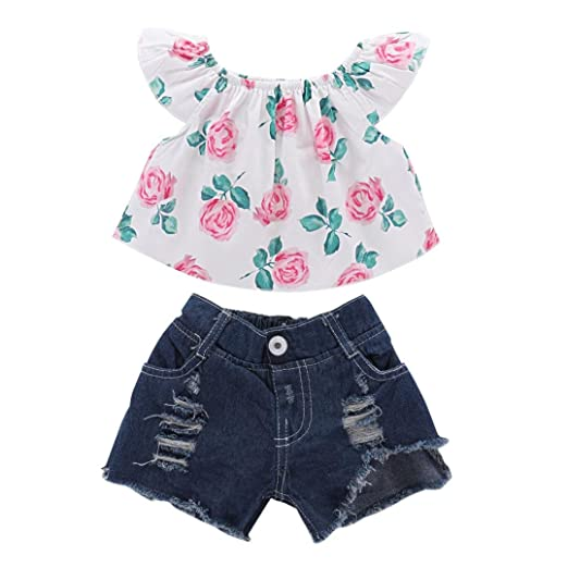 5e536374f Vincent&July Toddler Baby Girls Floral Ruffle Off Shoulder Tops T-Shirt+Denim  Shorts (