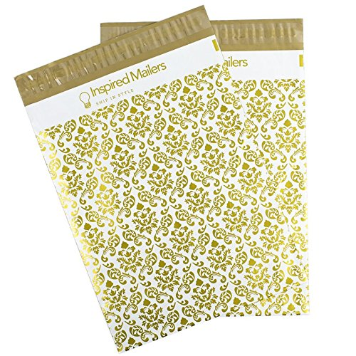 Inspired Mailers Poly Mailers 10x13 Deluxe Damask Pattern – Pack of 100 – Unpadded Shipping Bags (Durable Mailers)