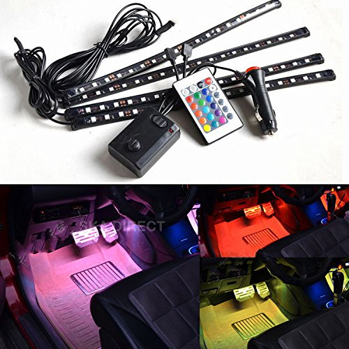 4pc. Multi-Color 7 Color LED Interior Underdash Lighting Kit, With Sound Active Function and Wireless Remote Control (Inside Led Lights For Cars compare prices)