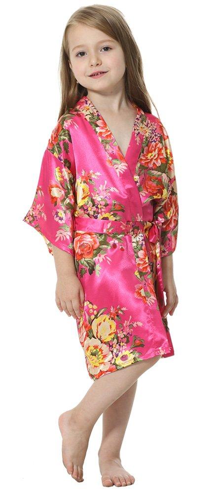 JOYTTON Girl's Satin Floral Kimono Bathrobe Flower Girl Robe (4,Fuchsia)