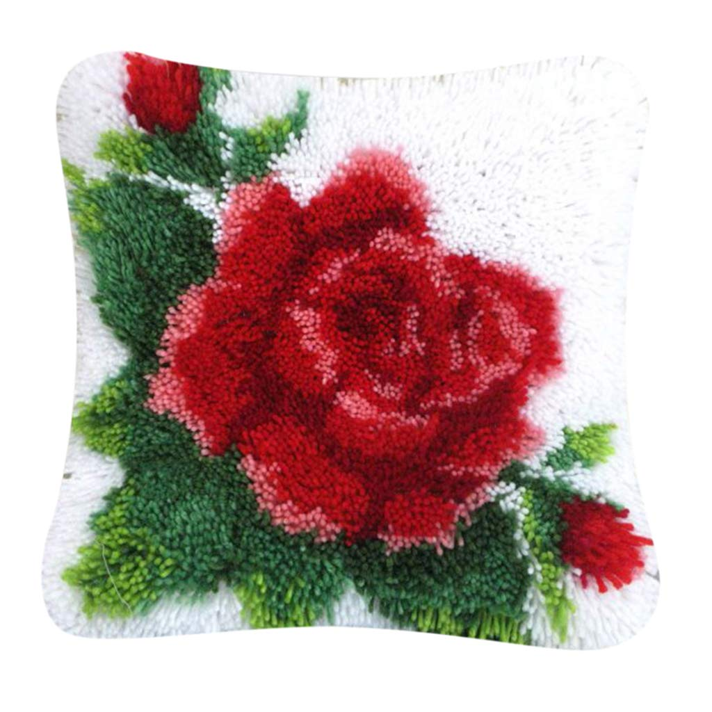 LoveinDIY Rose Flower Latch Hook Kits for Kids Latch Hook Cushion Kits DIY Cushion Cover Carpet Embroidery Kits for Home Sofa Decorations