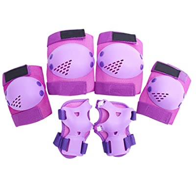 TOYANDONA 1 Set Kids Outdoor Sports Protector Cycling Skateboard Protective Gear Knee Elbow Pads (Purple) : Sports & Outdoors