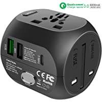 Adaptateur de Voyage Universel avec Charge Rapide Type c et USB QC3.0 (US/EU/UK/AU) Chargeur Tout-en-Un Chargeur Multifonction pour Plus de 180 Pays, 2 fusibles (fusible de Rechange) -Black