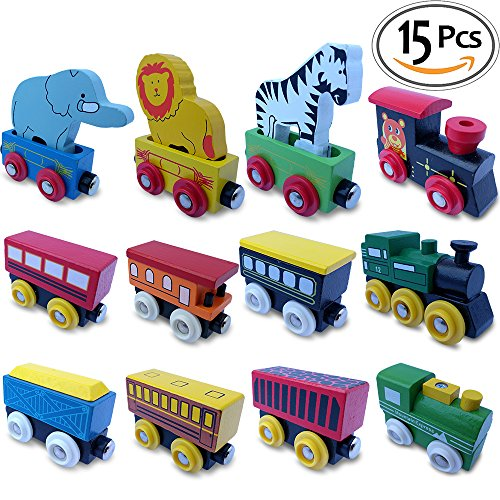 ToysOpoly 12 Piece Wooden Engines And Train Cars Set