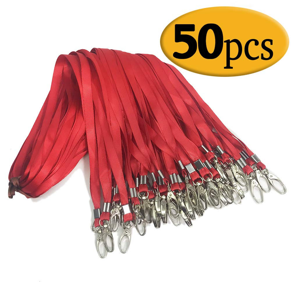 Red Lanyard Clip Swivel Hook 50 Pack 33-inch Lanyards with Clip Badge Lanyard Bulk Office Nylon Neck Flat Red lanyards for id Badges Key Chains(Red)