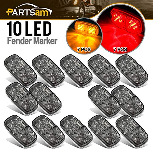 Partsam 14x Red/Amber Double Bullseye led Marker Light Side Marker Light Smoke Lens, Tiger Eye/Double Bubble LED Marker Lights, 4