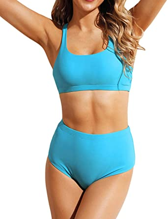 1086074c15c6f Amazon.com: Honlyps Two Piece High Waisted Bathing Suit Striped Bikini Set  Swimsuits for Women High Cut Sports Suits: Clothing