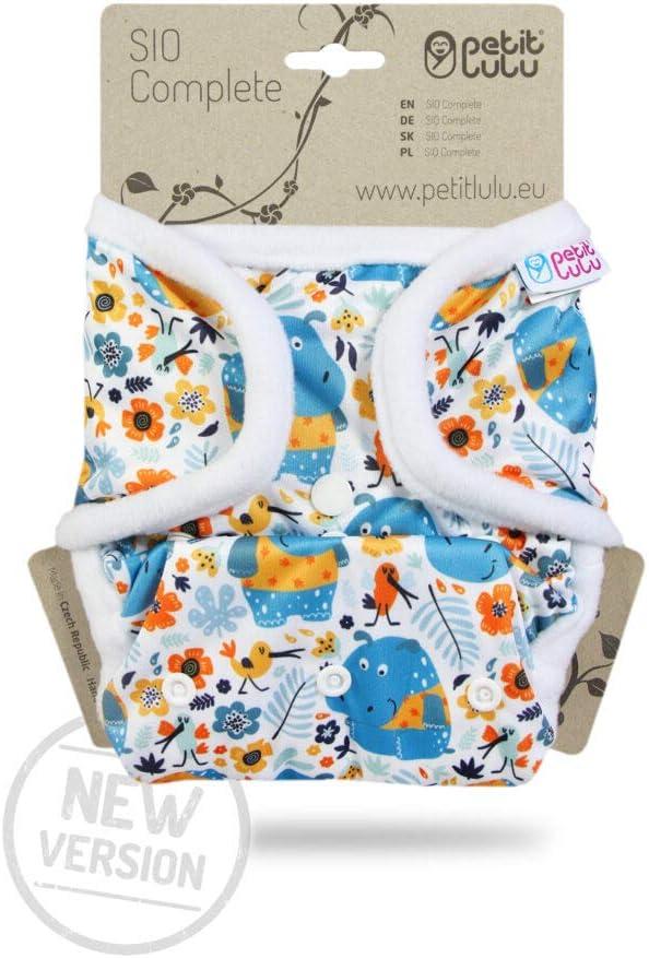 | SIO Complete Neue Version Short Insert Hergestellt in EU Baby SIO Komplettwindel Druckkn/öpfe 4-15 kg Lagune Wiederverwendbar und Waschbar Petit Lulu AI2 Stoffwindel One Size
