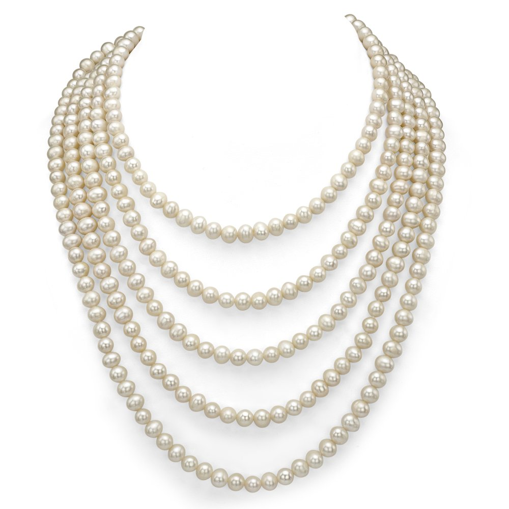 6-6.5mm White Freshwater Cultured High Luster Pearl Endless Necklace, 100''