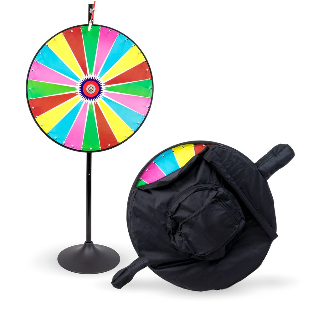 36'' Customizable Dry Erase Color Spinning Prize Wheel with Premium Protective Carry Bag Case, Extension Base, Extension Pole by Midway Monsters