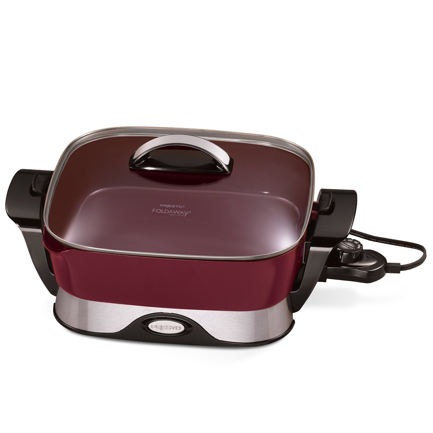 National Presto 07115 Electric Foldaway Skillet, 12-Inch, Burgundy