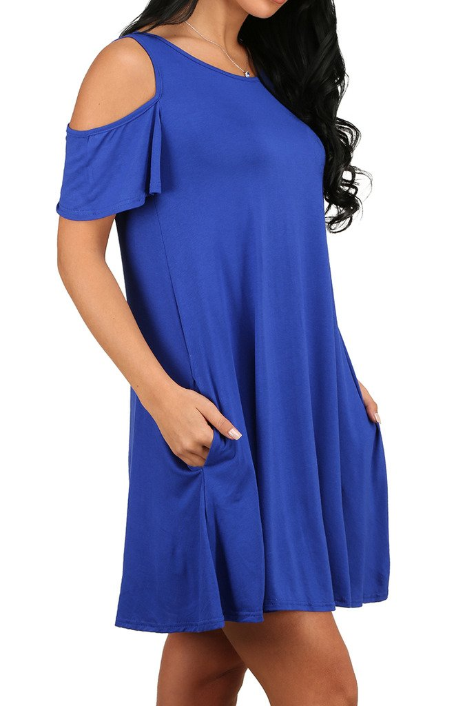 Women\'s Casual Plain Simple T-shirt Loose Dress Blue S