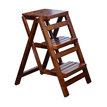 Amazing Amazon Com Heavy Duty Wood Step Stool 3 Tread Fold Up Machost Co Dining Chair Design Ideas Machostcouk