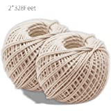 Natural Cotton Cooking Twine 2 Pcsx328 Feet Food Safe Kitchen Twine String for Trussing and Tying Poultry and Meat Making Sausage,Good for Arts Crafts and Garden