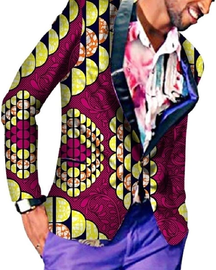 FieerMen Jacket Coat African Floral Small Blazer Business Leisure Outwear