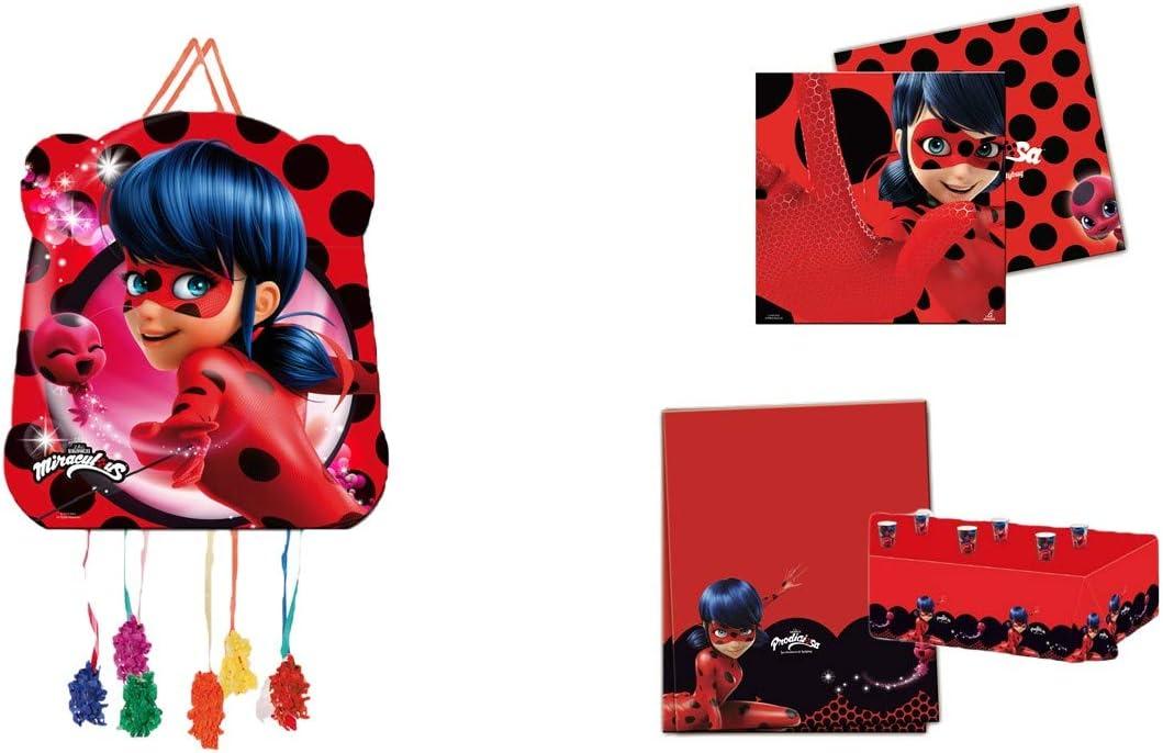 ALMACENESADAN 1122, Pack decoración Fiesta y cumpleaños Lady Bug; Compuesto por piñata, Mantel de Fiesta de plástico 120x180 cm y Pack de 20 servilletas