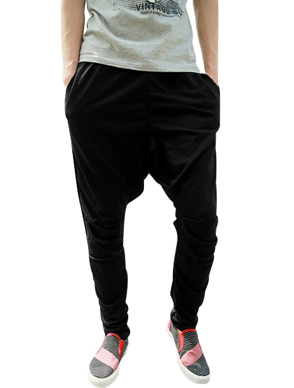 Allegra K Hombre Cordón Elástico Cintura Sweatpants Pantalones de deporte