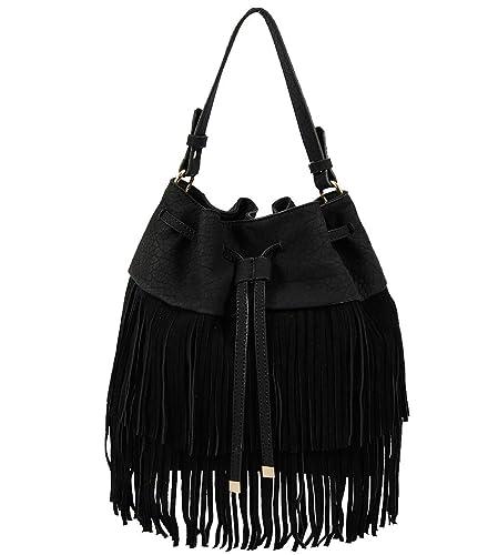 2d82f9ace Francine Suede Fringe Bucket Bag (Black): Handbags: Amazon.com
