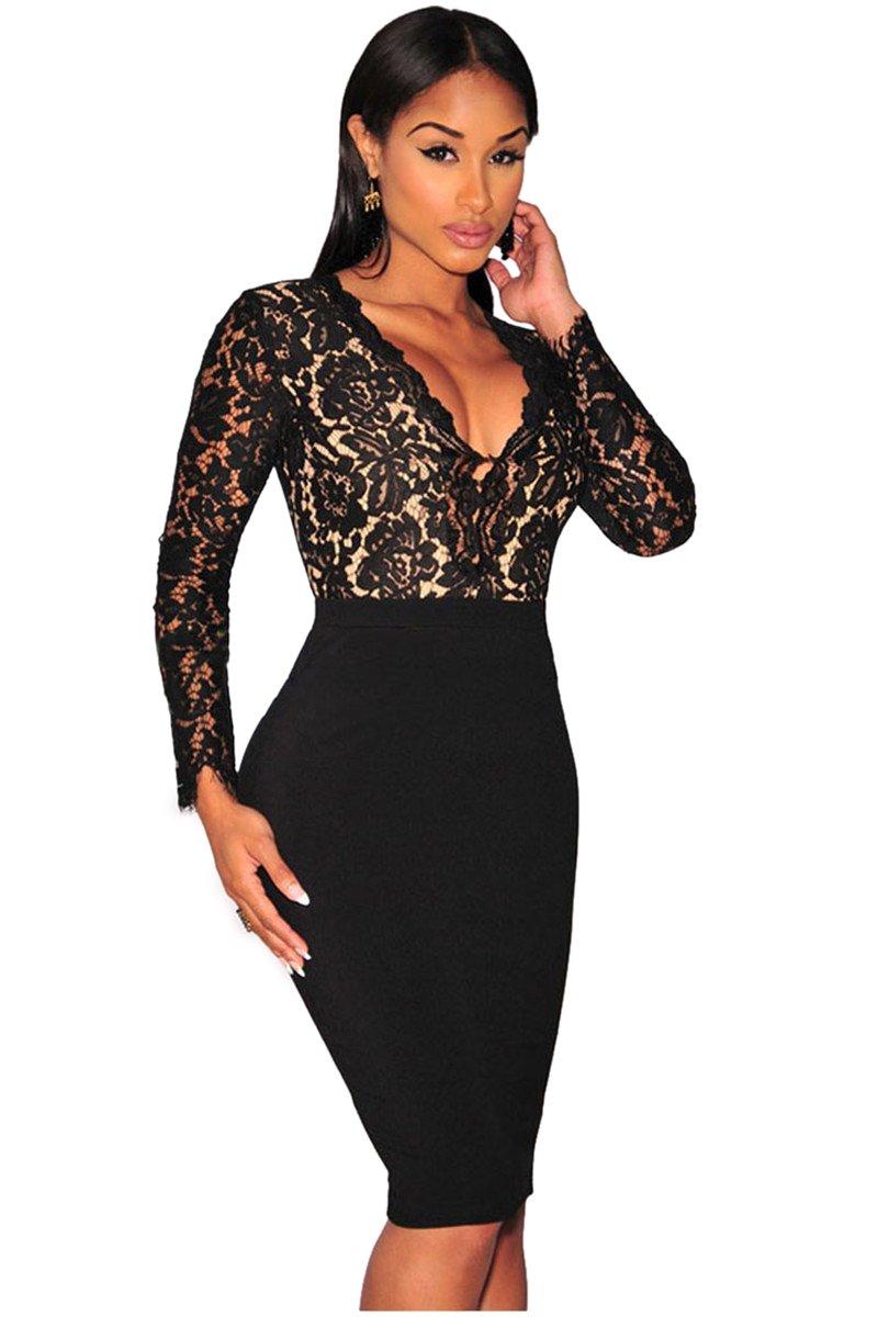 Kearia Women Sexy Deep V-Neck Bodycon Long Sleeves Mini Slim Lace Dress Clubwear Dress Black Medium