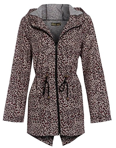 Jackets Leopard Printed New CHOCOLATE Mac Plain Raincoats 24 Fishtail Showerproof 8 Ladies Parka PICKLE Hooded wP1qI6