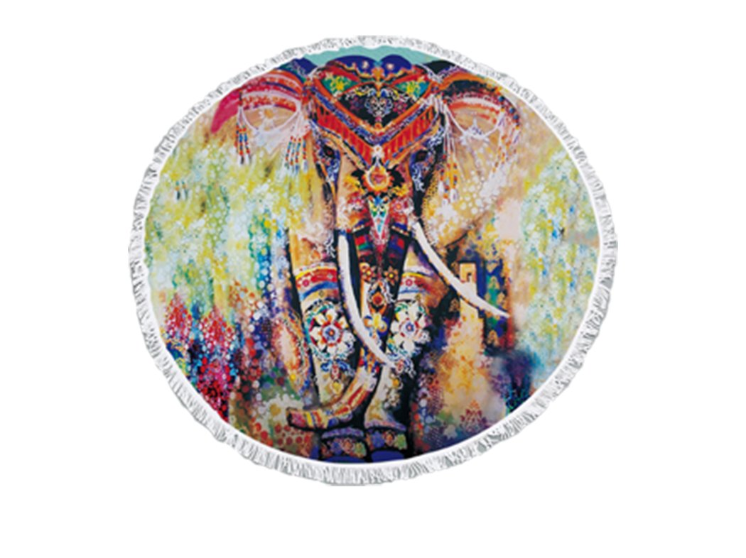 Utopone Mandala Beach Round Towels Elephant Boho Microfiber Circle Beach Blanket with Tassels Water Absorbent, Large Soft Thick Throw Beach Towel Blanket for Adults Girls Kids(Colorful,59 Inch)