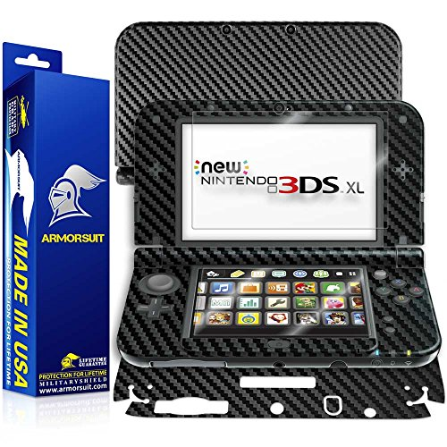 ArmorSuit MilitaryShield - New Nintendo 3DS XL (2015) Screen Protector + Black Carbon Fiber Full Body Skin Protectorw/ Lifetime Replacements (New 3ds Xl Carbon Fiber compare prices)