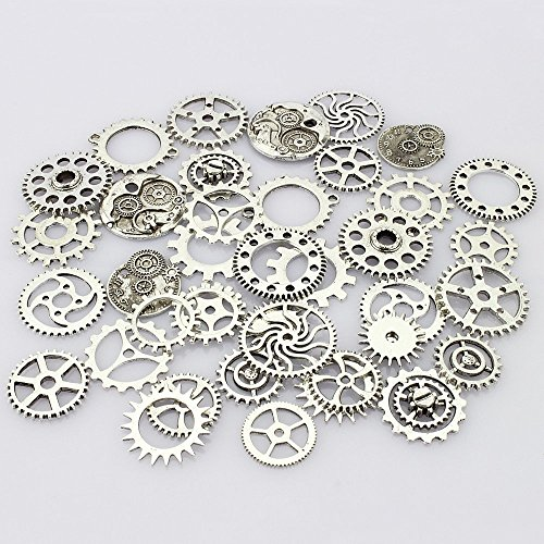 JGFinds 100 Pc Mixed Silver Tone Gears Wheels - Watch