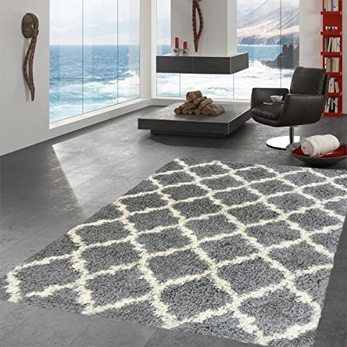 Ottomanson Ultimate Shaggy Collection Moroccan Trellis Design Shag Rug Contemporary Bedroom and  Living room Soft Shag Rugs, Grey, 6'7