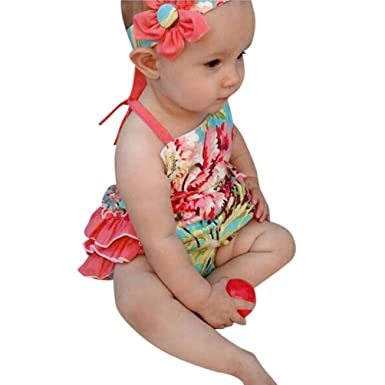 b0e2f30806e2 CHshe Newborns Baby Girl Princess Floral Print Ruffle Strap Summer Romper  Jumpsuit Party Clothes 0-18 Months  Amazon.co.uk  Clothing