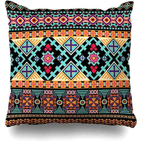 Starophi Striped Ethnic Ornament Fabric Invitation Border Flower Square Decorative Pillow Case 18 x 18 inch Zippered Pillow Cover Bedroom Living Room