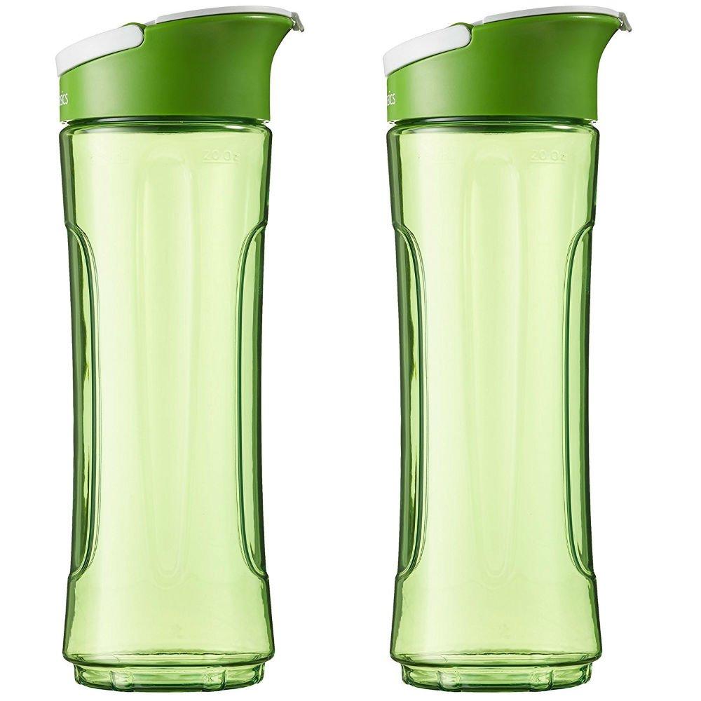 AmazonBasics - Bottiglia di ricambio per frullatore Mix and Go, 600 ml, colore verde, confezione da 2 841710156591
