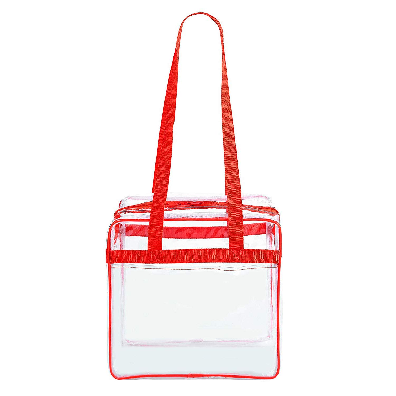 Clear 12 x 12 x 6 Stadium Tote Bag with Side Pocket and 35 Shoulder Straps