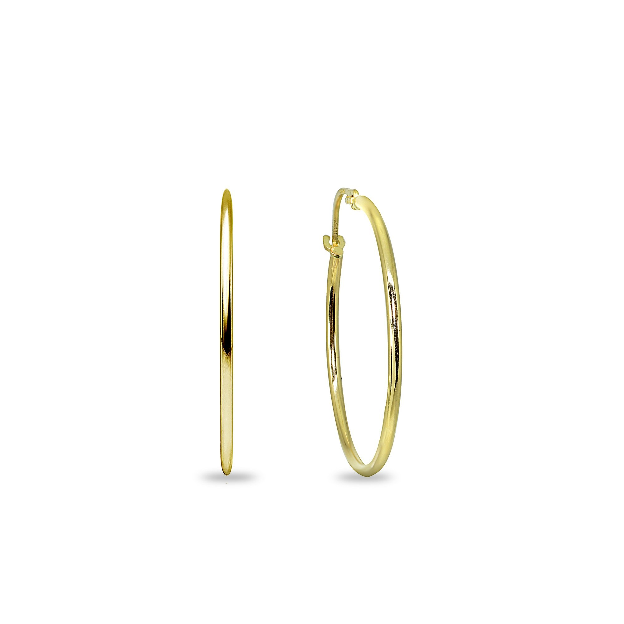 14K Yellow Gold 3/4 Inch Diameter Thin Lightweight Round Hoop Earrings