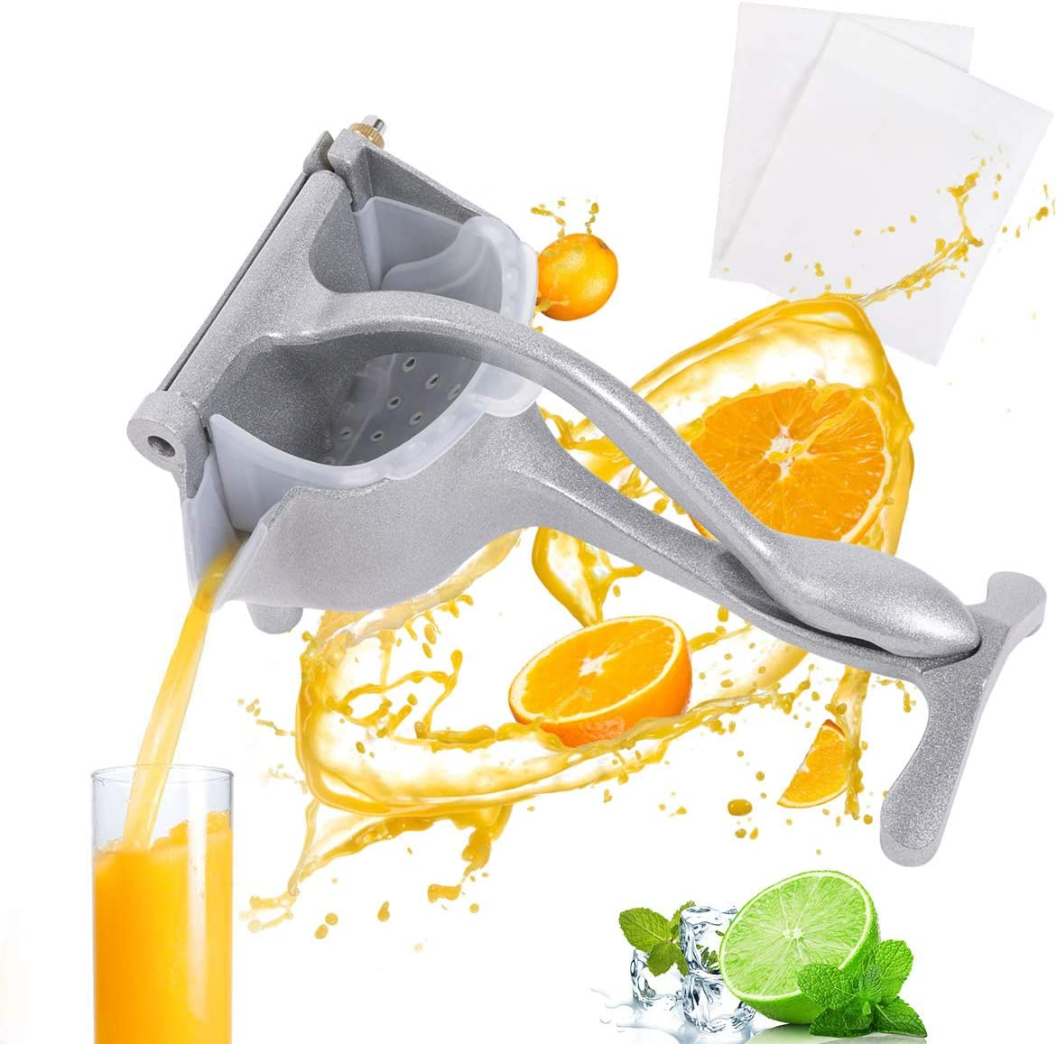 YBINYNA Manual Juicers,Stainless Steel Manual Fruit Juicer Portable Fruit Press Lemon Orange Squeezer Fruit Hand Squeezer Fruit Juicer Citrus Extractor Tool